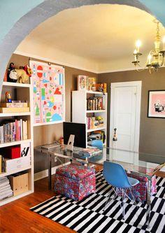dual desk. Rug. Colors