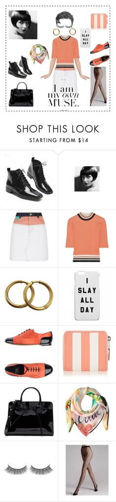 """""""I Am My OWN Muse."""" by amplebeauty ❤ liked on Polyvore featuring Roar, Maje, Carven, Chanel, Moschino Cheap & Chic, Balenciaga, Mansur Gavriel, Echo Design, Battington and Wolford"""