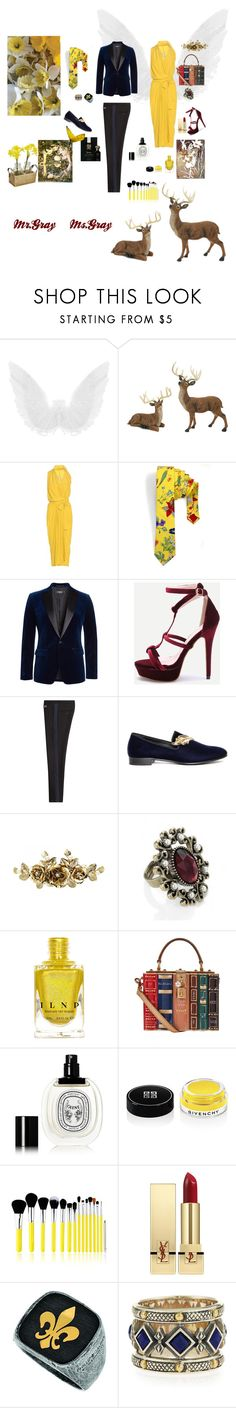 """""""Narcissus Couple"""" by fmsgray ❤ liked on Polyvore featuring Melrose International, Rick Owens, Dsquared2, Dolce&Gabbana, Giuseppe Zanotti, Diptyque, Barker, Givenchy, Bliss & Grace and Yves Saint Laurent"""