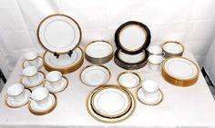 NORITAKE REGENT GOLD FINE CHINA SERVICE FOR 8 56 PIECE DINNER SET 7 PC SETTINGS #Noritake