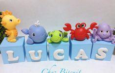 Baby Boy Birthday Themes, Boy Baby Shower Themes, Third Birthday, Baby Shower Parties, Baby Boy Shower, Cake Designs For Kids, Cute Winnie The Pooh, Fondant Animals, Ocean Party