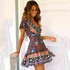 High Waist A-Line Dress Casual Dresses, Short Sleeve Dresses, Short Sleeves, Fashion Dresses, Floral Shorts, Summer Dresses For Women, Summer Outfits, Ladies Dress Design, Boho Dress