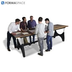 This industrial styled conference table has a unique hand crank that raises and lowers the solid wood top to a comfortable standing or sitting position. Stand during collaborative meetings to encourage creativity and increase energy levels!