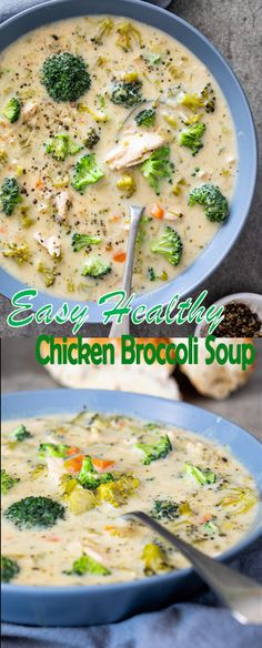 This easy healthy chicken broccoli soup is the perfect simple recipe for cozy winter dinners. Easy comfort food in a bowl served with crusty bread. Healthy Food List, Healthy Meal Prep, Healthy Chicken, Healthy Dinner Recipes, Soup Recipes, Chicken Recipes, Healthy Eating, Cooking Recipes, Healthy Soup