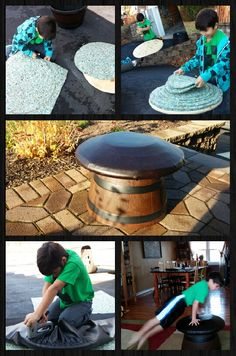 Gymnast mushroom to practice Pommel Horse 1 planter 20 to 22 inch diameter  6 yards of carpet padding 1 40in by 40in vynil  1 24in round wood Screw Glue