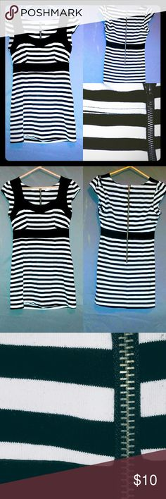 Black and white striped flared shirt/dress **IN GREAT CONDITION!!!**  Black and white striped shirt/dress with zipper on back eye candy  Dresses Mini