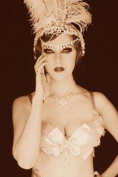 sephia vintage style burlesque portrait