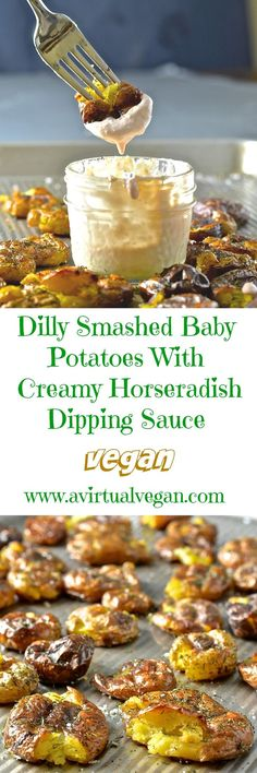 Take the humble potato to a whole new level with these extra crispy Dilly Smashed Baby Potatoes. Roasted, smashed, then roasted some more, their golden nubbliness is just irresistible. Serve them dripping in my mild & creamy horseradish sauce. Potato perfection..... #potatoes #smashedpotatoes #newpotatoes #babypotatoes #vegan #horseradish #roastpotatoes #horseradishsauce