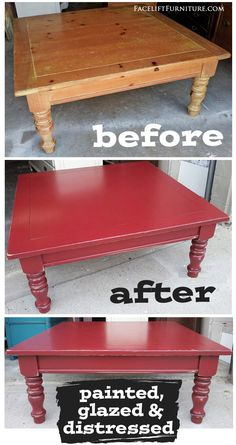 Chunky coffee table transformed in Barn Red and Black Glaze. Before and after from Facelift Furniture.