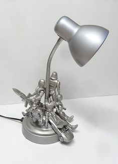 action figurine table lamp for boy s bedroom, bedroom ideas, crafts, how to, lighting, repurposing upcycling