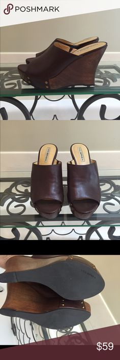 Via spiga made in Brazil excellent con wedge 8.5 Rich soft brown leather. Studded wedge. Very comfortable. Slight scuff on back of right heel, otherwise shoes are immaculate inside and out! Via Spiga Shoes Wedges