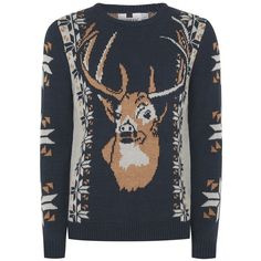 TOPMAN Navy, Grey and Brown Vintage Stag Jumper (120 BRL) ❤ liked on Polyvore featuring men's fashion, men's clothing, men's sweaters, navy, mens gray sweater, men's grey crew neck sweater, mens brown sweater, mens crew neck sweaters and mens vintage sweaters