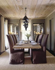 rough luxe: October 2012. wood ceiling.  candles inset with mirror behind (like artwork)