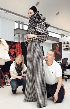 Sarah Burton and Alexander McQueen at the fitting for Alexander McQueen f/w 2009