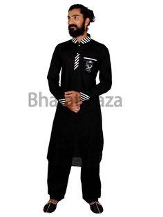 Glowing black color linen kurta having glossy crystal buttons. Item Code:SKB3355 http://www.bharatplaza.com/new-arrivals/kurta-pyjamas.html