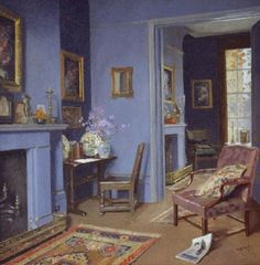 A Blue Room In Kensington - James Durden, 1928. British, 1979-1964 Oil on canvas, 523 x 520 mm