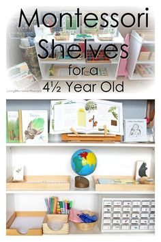 Ideas for preparing Montessori shelves at home for a 4½ year old with or without classic Montessori materials - Living Montessori Now #preschool #homeschool #Montessori #Montessorihomeschool