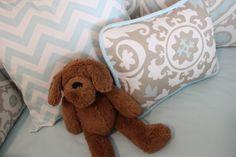 Project Nursery - Taupe Suzani Crib Bedding and Chevron Throw Pillow