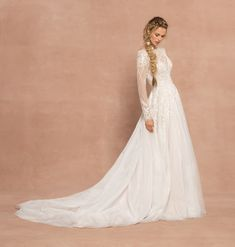 Style 62006 Fleetwood Hayley Paige bridal gown - Ivory embroidered tulle A-line gown, illusion long sleeve bodice with bateau neckline front and back, geometric and floral embroidery with pearlescent accent and contrast lining.