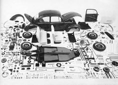 Vue éclatée de la Coccinelle Volkswagen, 1965. (paris match)- said the other pinner. Exploded view of a 1965 VW Beetle