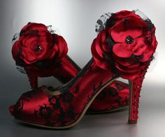 Wedding Shoes -- Red Peep Toe Wedding Shoes with Black Lace Overlay and Matching Flower on Ankle