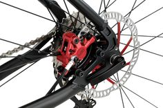 KOGA SuperMetro red details in the disc brakes
