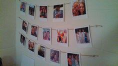 dorm decorations. Hanging poloroids