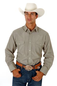 Roper Mens Poly Cotton Tone On Tone Solid Long Sleeve Shirt Snap Closure