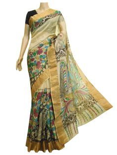 Kota silk saree with hand painted Kalamkari