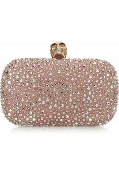 Alexander McQueen pale-pink and blue-diamates Clasic Skull box clutch $2195