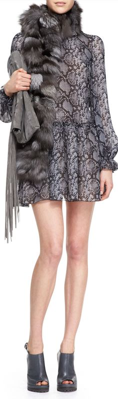 Michael Kors Python-Print Drop-Waist Dress & Michael Kors Fox Fur Scarf