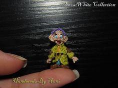 Snow white Dwarf  - Dopey Disney miniatures, Disney collectibles dollhouse disney toys, Snow White and the seven dwarfs miniature amigurumi