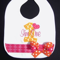 First Birthday Bib Pink and Orange Birthday Outfit by whimsytots, $22.50