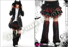 Punk Pirate Angeline Mini Tiered Skirt with Leg warmers