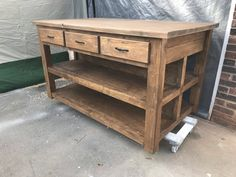 Kitchen Island / Farmhouse Island / Island / Custom Made / Decor / Rustic / Home / Farmhouse Kitchen Wooden Island Kitchen, Kitchen Island On Wheels, Farmhouse Kitchen Island, Rustic Kitchen Cabinets, Kitchen Decor, Free Standing Kitchen Island, Kitchen Rustic, Kitchen Islands, Kitchen Ideas
