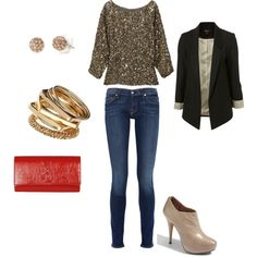 sequins and a blazer = great casual going out outfit!