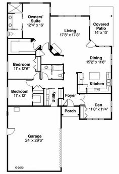 Prairie Style one story floor plan