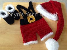 Your little one will look so cute dressed up in this little Santa suit! This would also make adorable Babys First Christmas photos! This outfit
