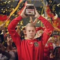 Manuel Neuer and Nutella Germany Team, Germany Football, World Cup Teams, Fifa World Cup, Soccer Boys, Play Soccer, Soccer Problems, Nutella, Sports
