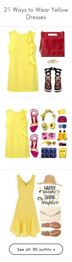 """21 Ways to Wear Yellow Dresses"" by polyvore-editorial ❤ liked on Polyvore featuring waystowear, yellowdresses, MANGO, Fendi, Gucci, Alexis Bittar, Schutz, Oscar de la Renta, Dolce&Gabbana and Casetify"