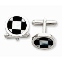Sterling Silver Cuff Links with Mother of Pearl and Black Enamel