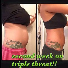 Think she's excited?  Products used Thermofit $39, Fat fighters $23, Greens $33  Text TripleThreat to 770-652-2016