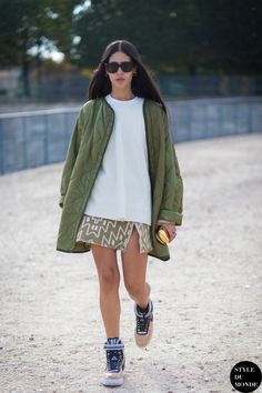 quilted green & pumped up kicks. #GildaAmbrosio in Paris.