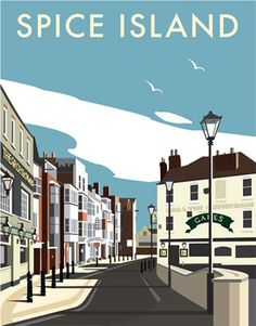 Spice Island, Portsmouth. By Illustrator Dave Thompson wholesale fine art print