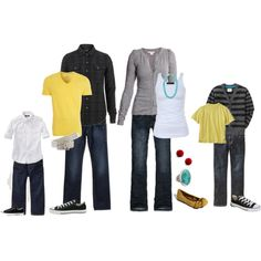 Colors for family picture Yellow, black, white and gray