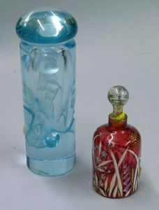 Robert Deeble Blue Glass Cologne and an Art Nouveau Enameled Glass Perfume Bottle.