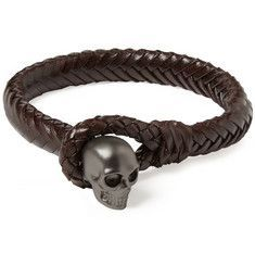Alexander McQueen Metal Skull and Woven-Leather Bracelet #alexandermcqueenskull