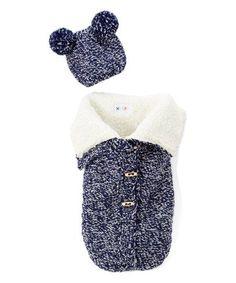 2e9b2ce0c9f Not Your Grandma's Blanket Navy Chunky Knit Sherpa Sleeping Sack & Hat Set  - Infant