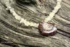 Collier en Citrine et son pendentif Ammonite : Collier par perle-de-chamane