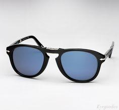 Persol 714 SM sunglasses - Black w/ Blue Lenses